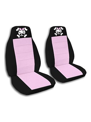 Cute Pink and Black Girly Skull Car Seat Covers