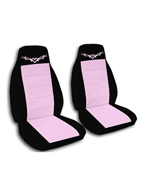 Cute Pink and Black Heart Tattoo Car Seat Covers