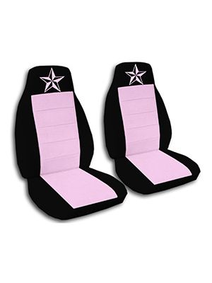 Cute Pink and Black Nautical Star Car Seat Covers