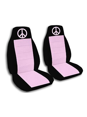 Cute Pink and Black Peace Sign Car Seat Covers