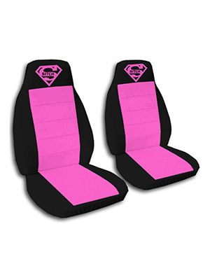 Hot Pink and Black Super Bitch Car Seat Covers