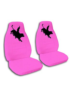 Hot Pink Bull Rider Car Seat Covers