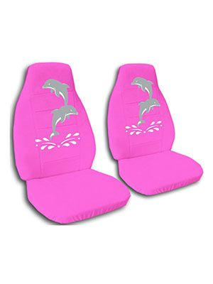Hot Pink Dolphins Car Seat Covers