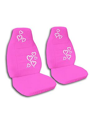Hot Pink Hearts Car Seat Covers