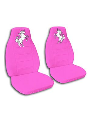 Set of 2 Universal-Fit Animal Print Front Bucket SUV Truck Seat Cover w// Arm Rest Opening Zebra Pink