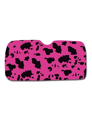 Pink and Black Cow Car Sun Shade