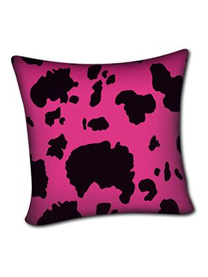 Pink and Black Cow Pillow Cover