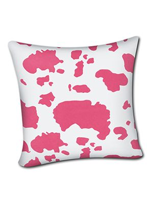 Pink and White Cow Pillow Cover