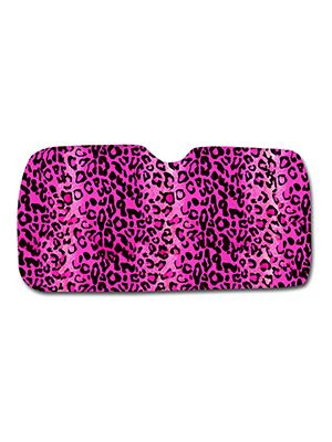 Pink Leopard Car Sun Shade