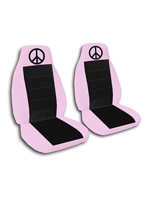 Black and Cute Pink Peace Sign Car Seat Covers