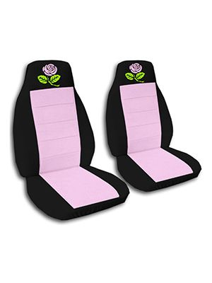 Cute Pink and Black Rose Car Seat Covers