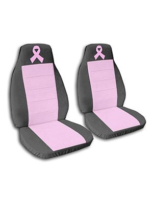 Cute Pink and Charcoal Pink Ribbon Car Seat Covers