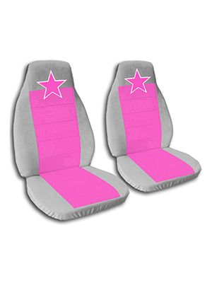 Hot Pink and Silver Star Car Seat Covers