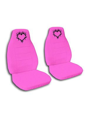 Hot Pink Heart Flames Car Seat Covers