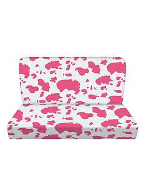 Pink and White Cow Bench Seat Covers