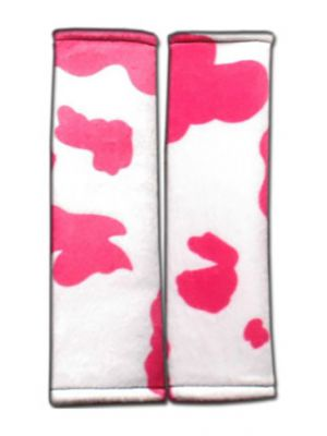Pink and White Cow Seat Belt Covers