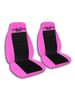 Black and Hot Pink Butterfly Tattoo Car Seat Covers