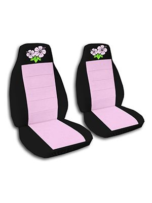 Cute Pink and Black Hibiscus Car Seat Covers