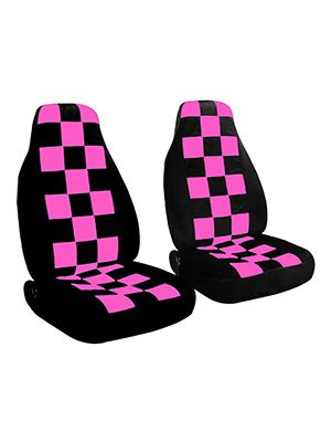 Hot Pink-Black Checkers and Black Car Seat Covers