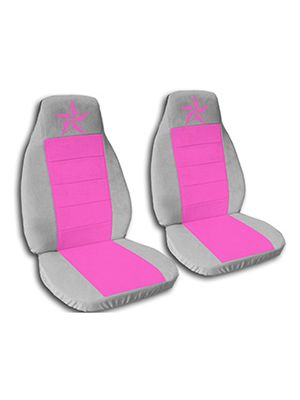 Hot Pink and Silver Nautical Star Car Seat Covers