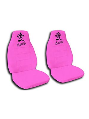 Hot Pink Love Car Seat Covers