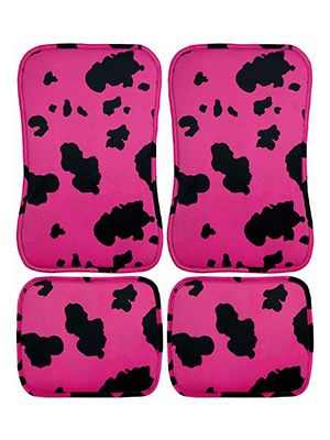 Pink and Black Cow Car Floor Mats