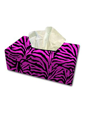 Pink Zebra Tissue Box Cover