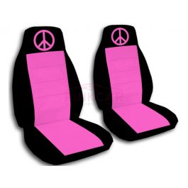 hot pink and black peace sign car seat covers. Black Bedroom Furniture Sets. Home Design Ideas