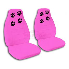 Hot Pink Paw Prints Car Seat Covers