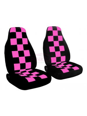 Hot Pink Black Checkers And Car Seat Covers