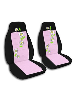 Cute Pink and Black Daisies Car Seat Covers