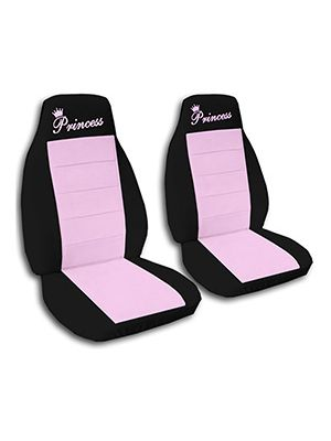 Cute Pink and Black Princess Car Seat Covers
