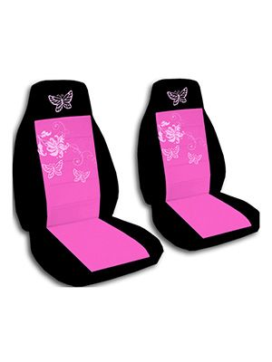 Hot Pink and Black Butterflies Car Seat Covers