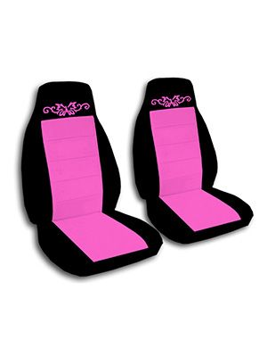 Hot Pink and Black Butterfly Tattoo Car Seat Covers