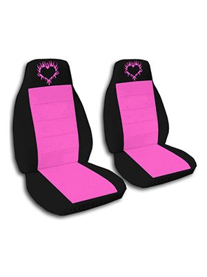 Hot Pink and Black Heart Flames Car Seat Covers