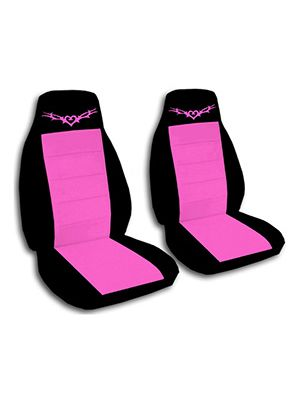Hot Pink and Black Heart Tattoo Car Seat Covers
