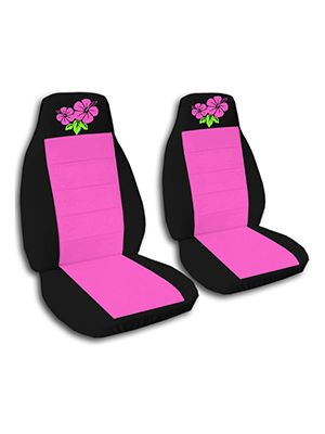 Hot Pink and Black Hibiscus Car Seat Covers