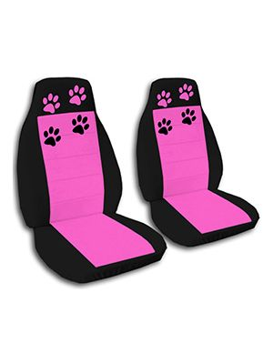 Hot Pink and Black Paw Prints Car Seat Covers