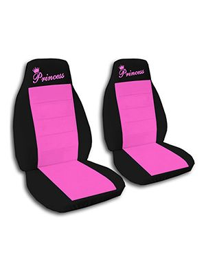 Hot Pink and Black Princess Car Seat Covers