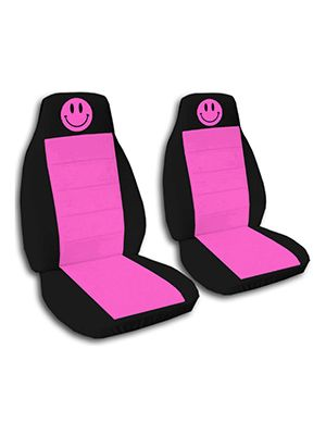 Hot Pink and Black Smiley Car Seat Covers