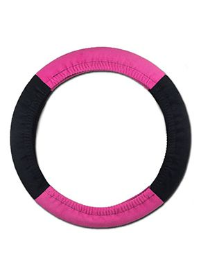 Hot Pink and Black Steering Wheel Cover