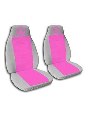 Hot Pink and Silver Peace Sign Car Seat Covers