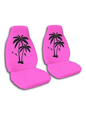 Hot Pink Palm Tree Car Seat Covers