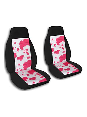 Pink-White Cow and Black Car Seat Covers