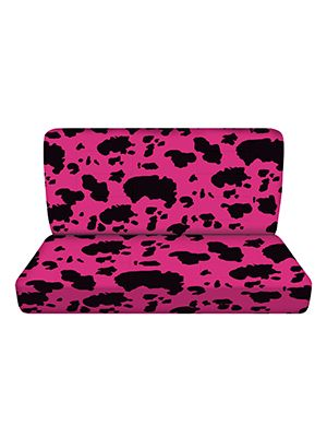 Pink and Black Cow Bench Seat Covers