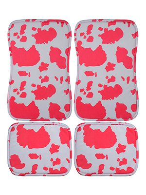 Pink and White Cow Car Floor Mats