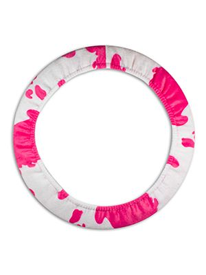 Pink and White Cow Steering Wheel Cover