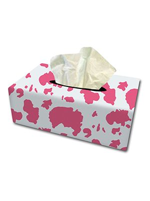 Pink and White Cow Tissue Box Cover
